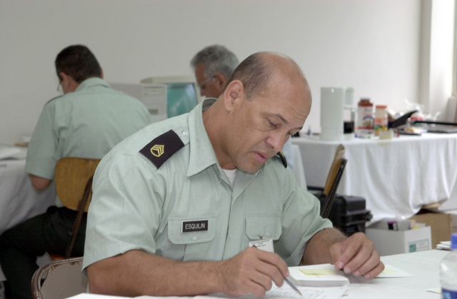 Checking paperwork, STAFF Sergeant Jorge Esquilin, US Army South Assistant Administrative NCO during Peace Keeping Operations North 2000 (PKO NORTH 2000). PKO NORTH 2000 is held at the Honduran Military Academy in Tegucigalpa, Honduras, Central America. The exercise, runs 14-25 August 2000, sponsored by US Southern Command in Miami, Florida, and is executed by US Army South in Ft. Buchanan, Puerto Rico
