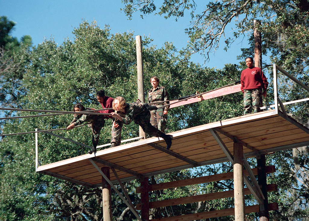 US Marine Corps female Recruits Jenkins (Left) and Hopper attempt the slide for life while Marine STAFF Sergeant Green (Left) and Sergeant Johnson watch them. The slide for life is part of the Confidence Course, which is located at Leatherneck Square, Marine Corps Recruit Depot, Parris Island, South Carolina