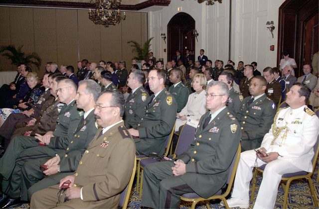 VIPs are briefed on PEACEKEEPING OPERATIONS (PKO) NORTH 2000, held at the Honduran Military Academy, Tegucigalpa, Honduras, Central America. The exercises' goal is to increase reginal and multinational cooperation in peacekeeping. Participants in seminars learn and exchange skills through lectures and classroom-style discussion