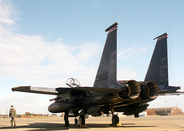 US Air Force Captain Brett Gallagher, a pilot from the 494th Fighter Squadron, 48th Fighter Wing, Royal Air Force Lakenheath, United Kingdom, stands next to a F-15E Strike Eagle prior to preflight checks. The Strike Eagle is a two-seat fighter designed to maintain air superiority during combat. (Duplicate image, see also DF-SD-01-07700 or search 000828-F-9032T-006)