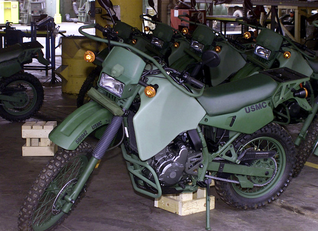 The US Marine Corps' new tactical motorcycle, the Kawasaki KLR 650 M1030B1, sits in a warehouse aboard Marine Corps Base (MCBH), Kaneohe Bay, Hawaii, prior to issuing. The motorcyles were unpackaged and issued on August 31st, 2000