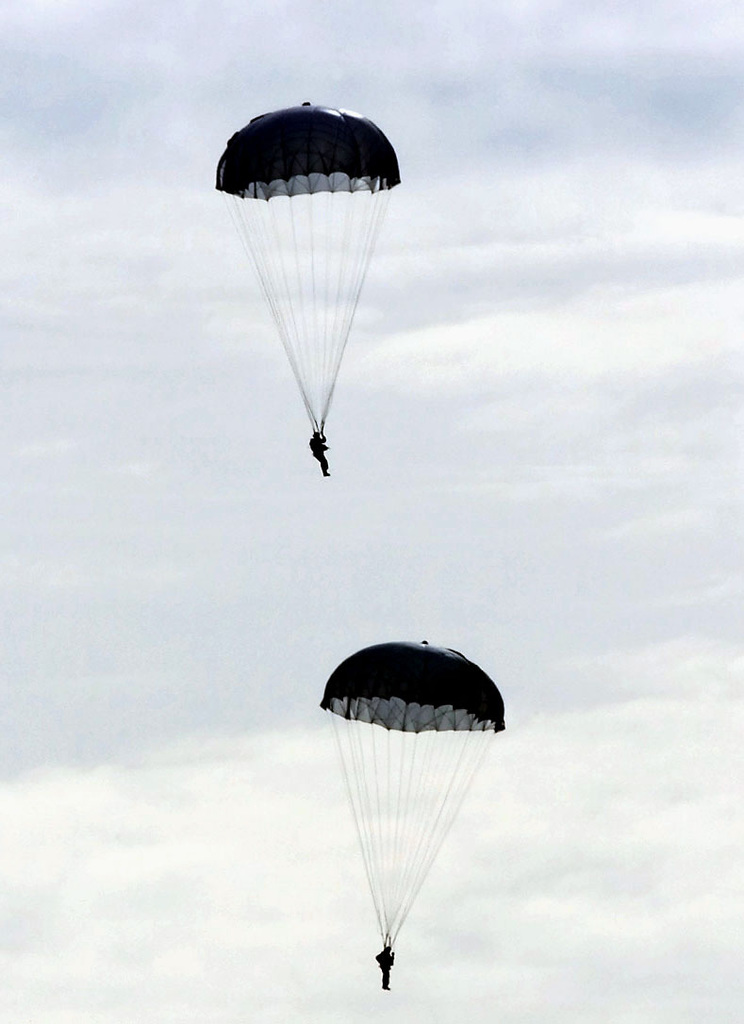 Kazakhstan paratroopers are first into the drop zone as part of an international mass jump. Paratroopers from Kazakhstan, the United States and Turkey are descending into Kazakhstan to prepare for the the start of the Central Asian Peacekeeping Battalion (CENTRASBAT) 2000. The CENTRASBAT 2000 exercise is a multi-national, in the Spirit of Partnership for Peace, peacekeeping and humanitarian relief exercise sponsored by United States Central Command (US CENTCOM) and hosted by the former Soviet Republic Kazakhstan in Central Asia, 11-20 September 2000. Exercise participants include approximately 300 U. S. troops including personnel from US CENTCOM, from the US Army's 82nd Airborne Division...