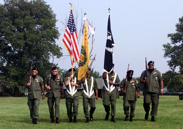 Vietnam Veterans of America, Chapter 266, presents the flags during the closing ceremonies at Operation STAND DOWN at Lighthouse Field in Philadelphia, Pennsylvania. Operation Stand Down was a five day drug, alcohol, and violence-free haven for homeless Veterans. More than 400 volunteers helped the participants with legal, dental, and medical services