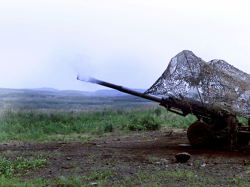 The (USMC) M198 155mm Howitzer from 3rd Marine Regiment, 12th Battalion, fires a round during operation Fire Dragon. The goal of the operation is to enhance unit cohesion, improve speed of operation, and give Marines training in realistic combat environments