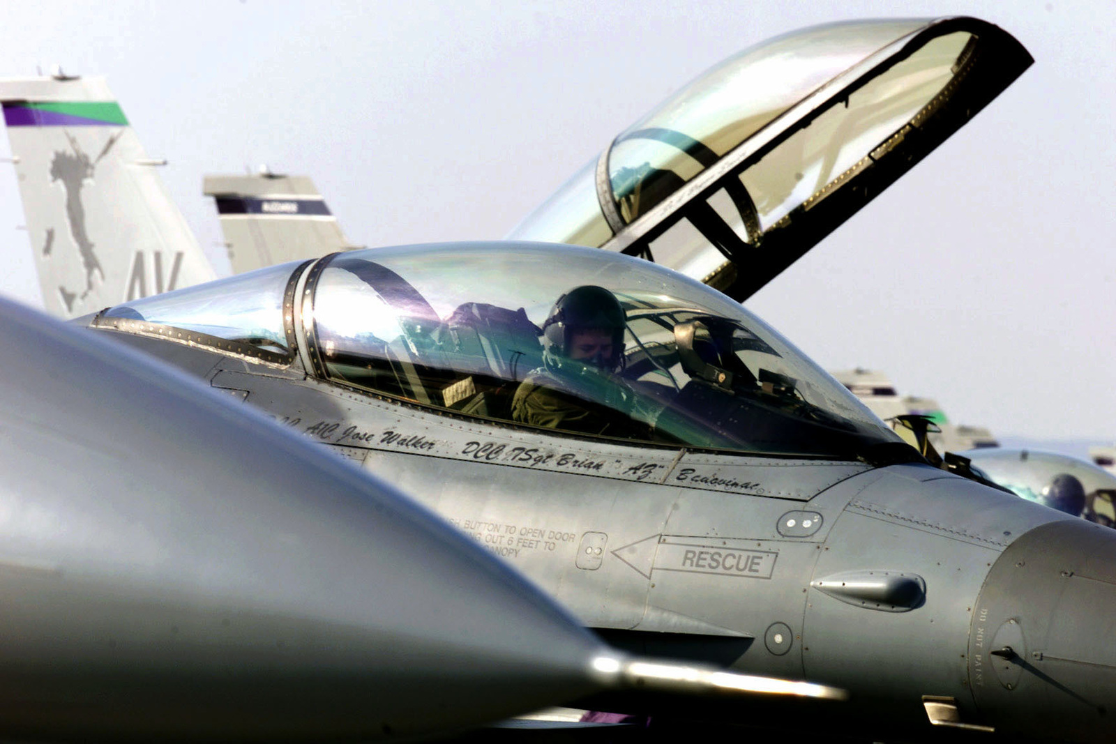 """United States Air Force Captain Dave """"FAHM"""" O' Malley, 510th Fighter Squadron, 31st Fighter Wing, dployed from Aviano Air Base, Itialy, in an F-16C Fighting Falcon prior to launching for the day's first training sorties. Training Exercise Iron Claw, Kuchyna AB, Slovakia, 11 September 2000"""