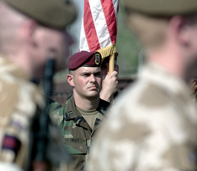 Members of the U S  Army's 82nd Airborne Division, under the