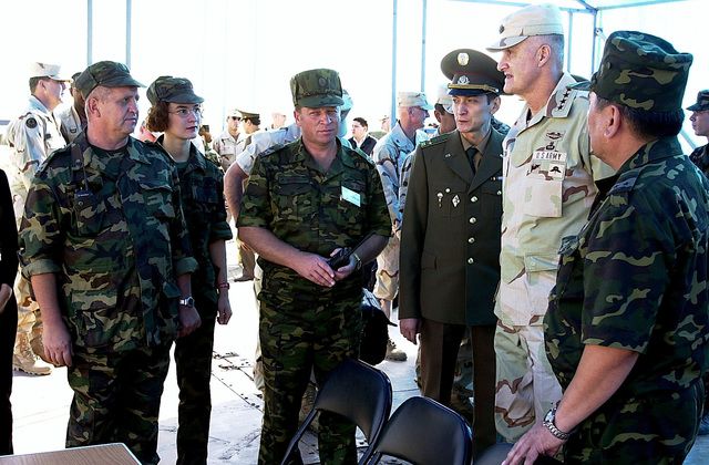 US Army General Henry H. Shelton, Chairman, Joint Chiefs of STAFF, tours the Central Asian Peacekeeping Battalion (CENTRASBAT) 2000 training site in Kazakhstan (KAZ) on 14 September 2000. The CENTRASBAT 2000 exercise is a multi-national in the Spirit of Partnership for Peace, peacekeeping and humanitarian relief exercise sponsored by United States Central Command (US CENTCOM) and hosted by the former Soviet Republic Kazakhstan in Central Asia, 11-20 September 2000. Exercise participants include approximately 300 US troops including personnel from US CENTCOM, the US Army's 82nd Airborne Division, Fort Bragg, North Carolina, and 5th Special Forces Group, Fort Campbell, Kentucky, and ...