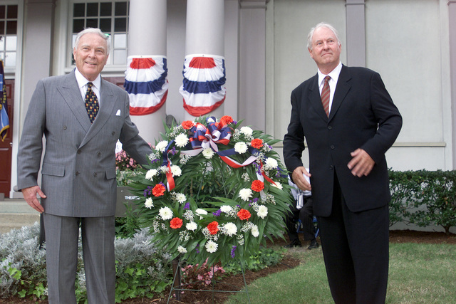 Keynote Speaker, former Secretary of State, United States Army General (GEN) Alexander M. Haig, Jr. (Retired), with Colonel (COL) Lyman Hammond (Retired) during the POW/MIA Remembrance Day Wreath Laying ceremony held at MacArthur Park, on Naval Station Norfolk, Virginia
