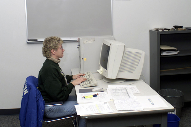 Ms. Michelle Rowan uses a computer system to audit and issue expendable supplies to various units heading to Kuwait