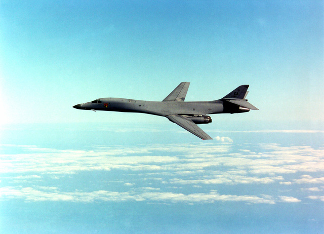 A US Air Force B-1 Lancer, flown by the 116th Bomb Wing, Georgia Air National Guard, Robins Air Force Base, Georgia, on September 27th, 2000