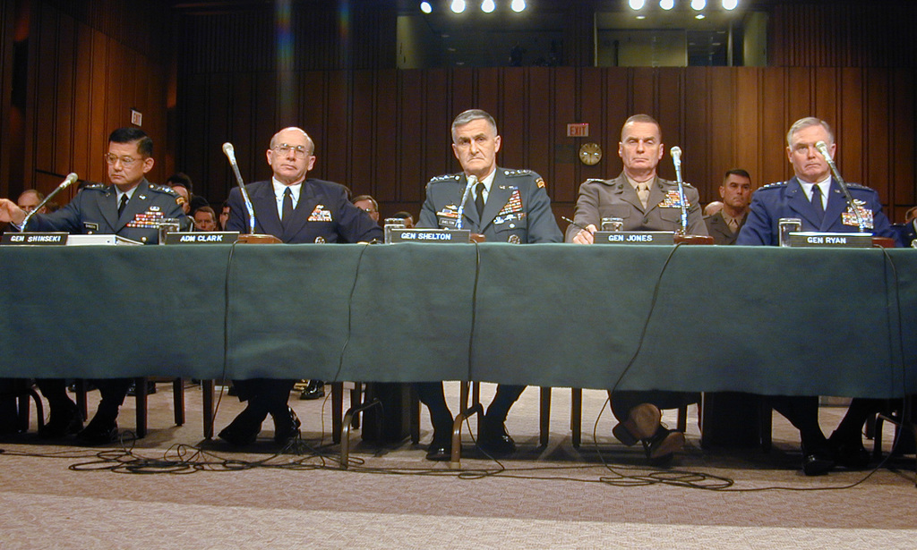 The Joint Chiefs of STAFF led by the Chairman, United States Army (USA) General (GEN) Hugh Shelton (center), testify before the Senate Armed Services Committee. USA GEN Eric Shinseki, USA CHIEF of STAFF; Admiral (ADM) Vern Clark, CHIEF of Naval Operations (CNO); Chairman Shelton; GEN James Jones, Commandant of the United States Marine Corps and United States Air Force (USAF) CHIEF of STAFF General Michael Ryan