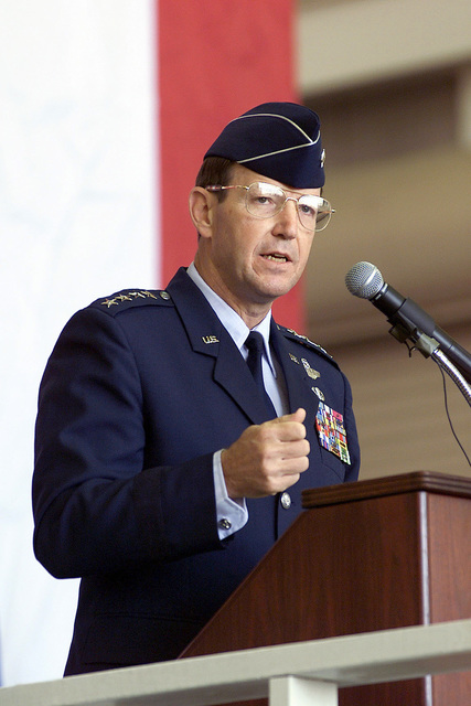 General Charles T. Robertson, Jr., Commander of the Air Mobility Command, speaks at the 21st Air Force Change of Command Ceremony. Command of the 21st Air Force passed from Major General John D. Hopper, Jr. to Major General George N. Williams. General Charles T. Robertson, Commander of the Air Mobility Command acted as the presiding official for the ceremony. Headquarters, 21st Air Force is responsible for assessing operational readiness and recommending improvements in the tanker/airlift system within the 21st Air Force area of Africa, Southwest Asia, Europe, the Caribbean, South and Central America, the Eastern United States, and Canada. 21st Air Force monitors tanker/airlift operations...