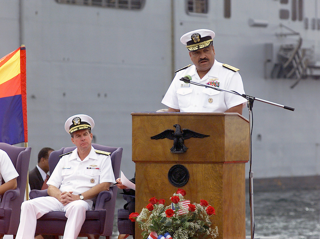Vice Admiral (VADM) Edward Moore, Commander, Surface Force United States Pacific Fleet, delivers his remarks at the memorial service held for Sailors of the USS COLE (DDG 67) at Naval Station 32nd Street, San Diego, California