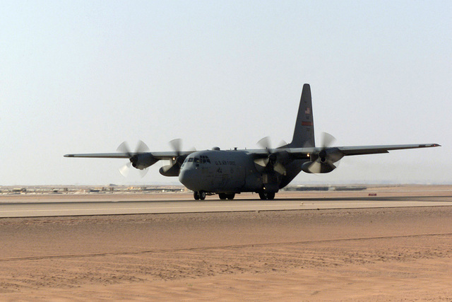 A C-130 Hercules aircraft from the 363rd Expeditionary Airborne Squadron (EAS), Prince Sultan Air Base, Saudi Arabia, takes off for its daily mission during Operation SOUTHERN WATCH. The 363rd EAS is part of the coalition forces of the 363rd Air Expeditionary Wing, Prince Sultan Air Base, Saudi Arabia, that enforces the no-fly and no-drive zone in Southern Iraq to protect and defend against Iraqi aggression