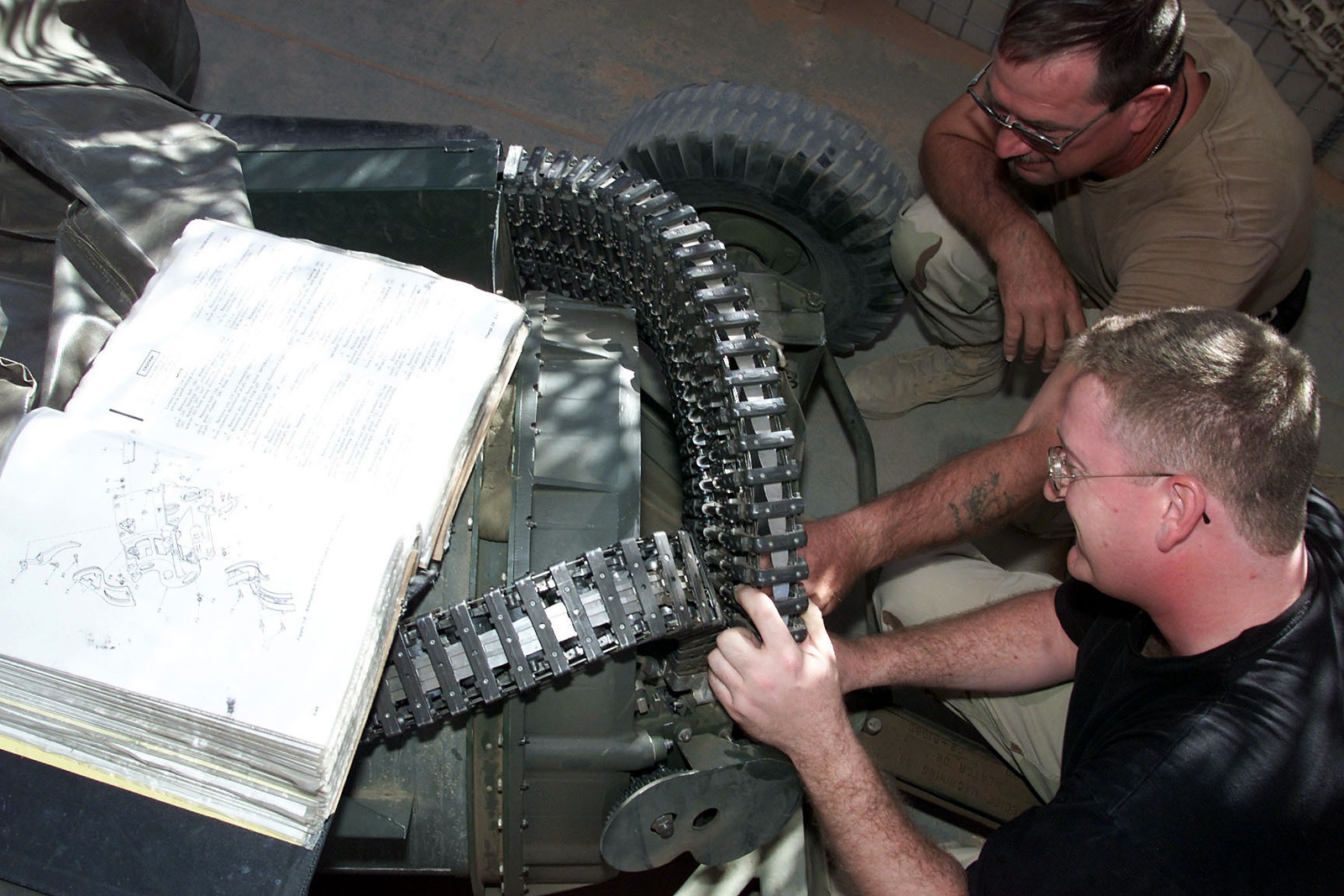 US Air Force MASTER Sergeant James Rice and US Air Force STAFF Sergeant Eric MacDonald, from the 363rd Expeditionary Maintenance Squadron (EMS), perform a preventative maintenance check on a Universal Ammunition Loading System at Prince Sultan Air Base, Saudi Arabia. The 363rd EMS is part of the coalition force here to support Operation SOUTHERN WATCH, a military effort to enforce the no-fly and no-drive zone in Southern Iraq