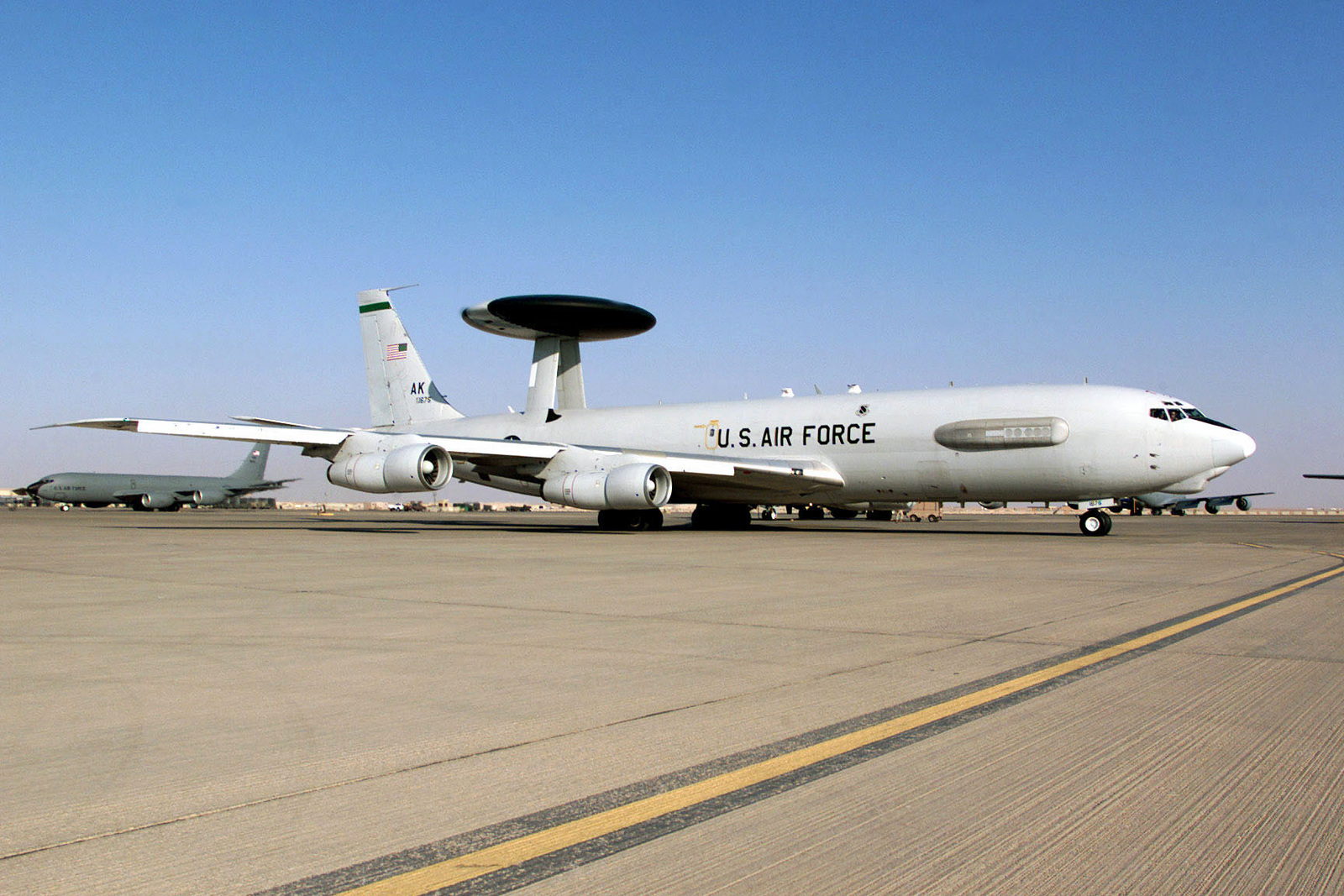 A US Air Force E-3 Airborne Warning and Control System (AWACS) from the 944th Airborne Air Control Squadron, Tinker Air Force Base, Oklahoma, taxis down the North ramp prior to a mission at Prince Sultan Air Base, Saudi Arabia. This aircraft is a part of the coalition forces of the 363rd Air Expeditionary Wing that enforces the no-fly and no-drive zone in Southern Iraq to protect and defend against Iraqi aggression. This mission is in direct support of Operation SOUTHERN WATCH
