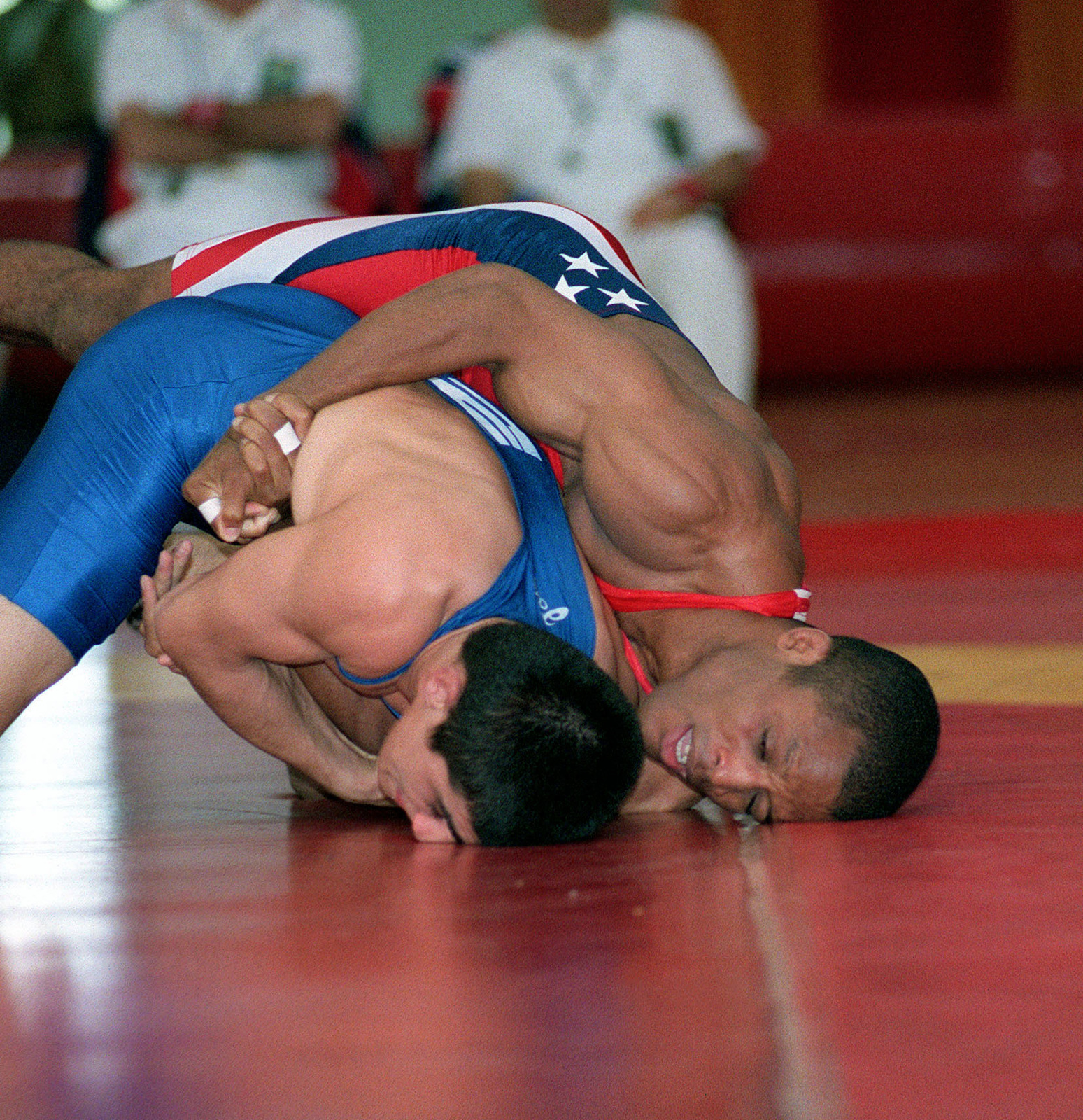 US Marine Sergeant Duaine Martin (Right), Headquarters and Service Battalion, Marine Corps Base, Quantico, Virginia, attempts to score during the 58-Kg weight division Gold Medal match against Cerpiz Papagan, of Turkey, at the 19th World Military Wrestling Championships held at Camp Lejeune Marine Corps Base, North Carolina, on October 26th, 2000. The Conseil International du Sport Militaire 19th World Military Wrestling Championship (CISM) is a multi-national wrestling tournament hosted by Camp Lejeune from Oct. 25-29. Competing nations include: Brazil, China, Estonia, Finland, Germany, Greece, Slovakia, Turkey, the United States, and Vietnam. The wrestlers will be competing in two ...