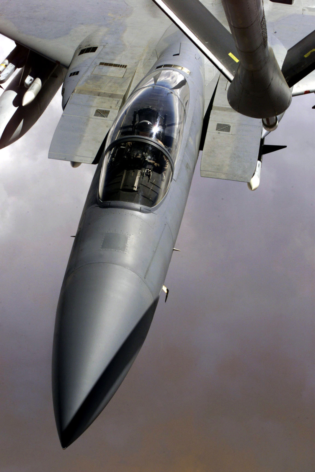 An F-15 Eagle aircraft refuels from a KC-135 Stratotanker (not shown) over Saudi Arabia. The F-15 is part of the coalition forces of the 363rd Air Expeditionary Wing who enforce the no-fly and no-drive zone in Southern Iraq to protect and defend against Iraqi aggression in support of Operation SOUTHERN WATCH