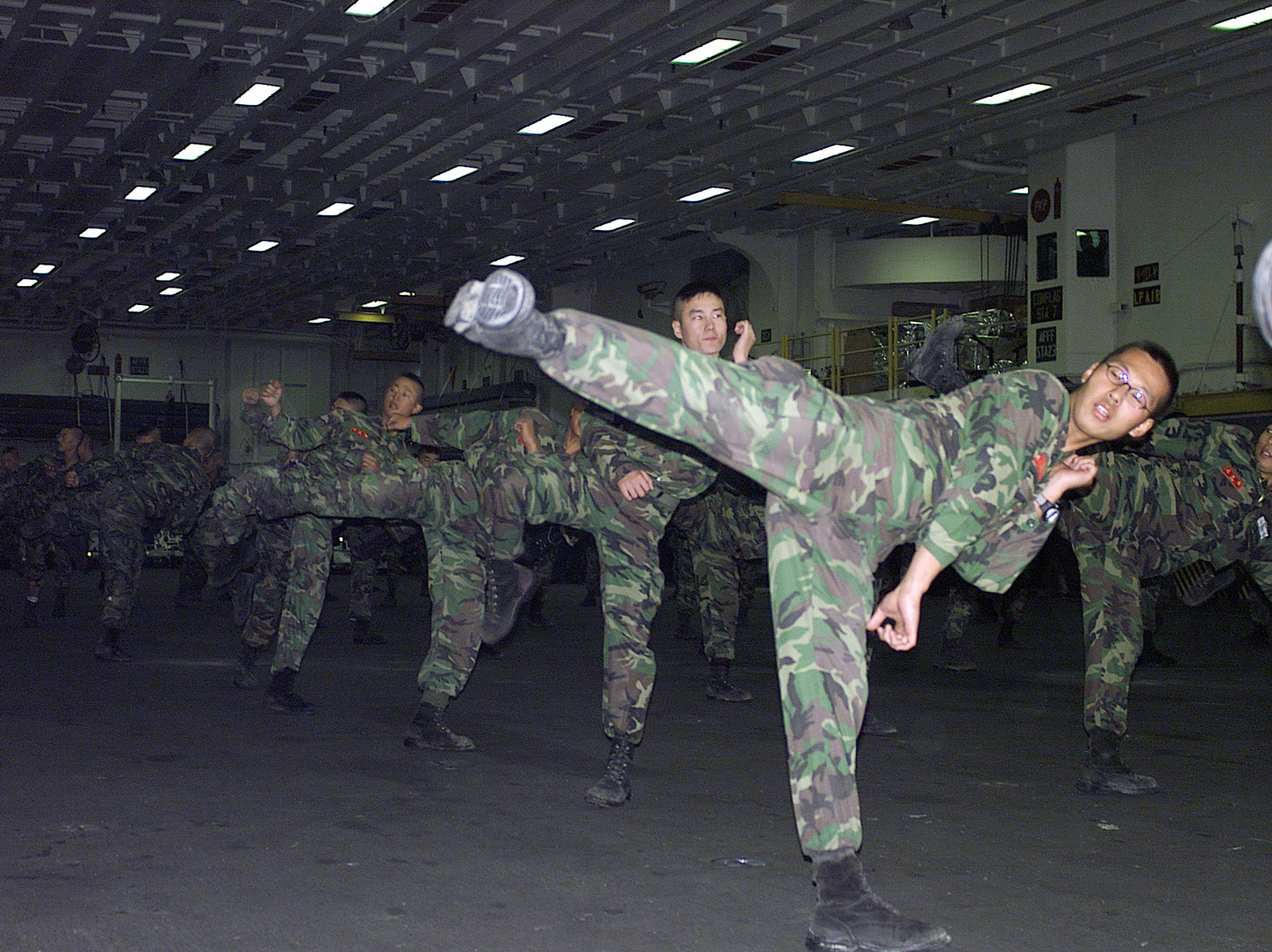 Republic of Korea (ROK) Marines perform stretching exercises before practicing hand to hand combat skills with the US Marines while off the coast of Pohang, Korea, aboard the USS Essex (LHD 2). During FOAL EAGLE 2000 exercise US Marines from the 31st Marine Expeditionary Unit (MEU), spent two months participating in various training operations on and off the coast of Okinawa, Japan, Sasebo, Japan, Pohang, Korea, and Hong Kong, China