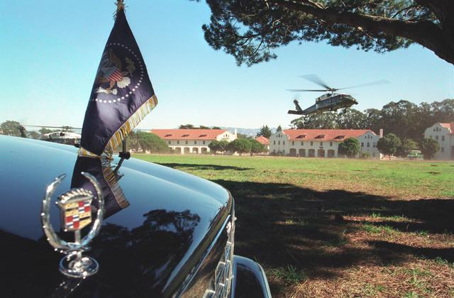 Photograph of Marine One Landing at the Presidio Landing Zone in San Francisco, California