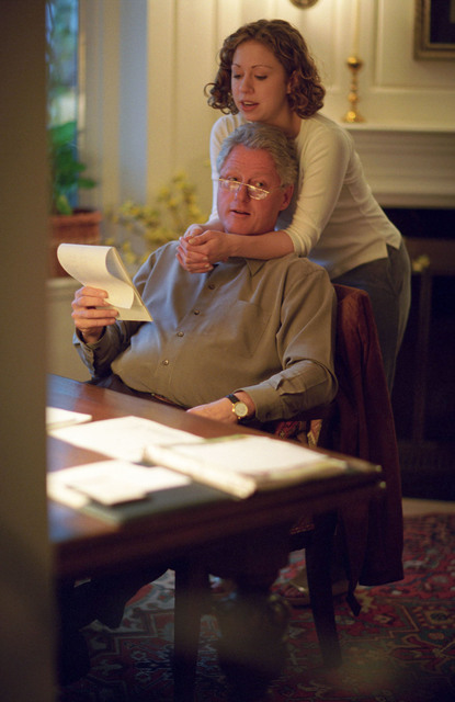 Photograph of President William Jefferson Clinton and Chelsea Clinton in the Study of the Chappaqua Residence in Chappaqua, New York
