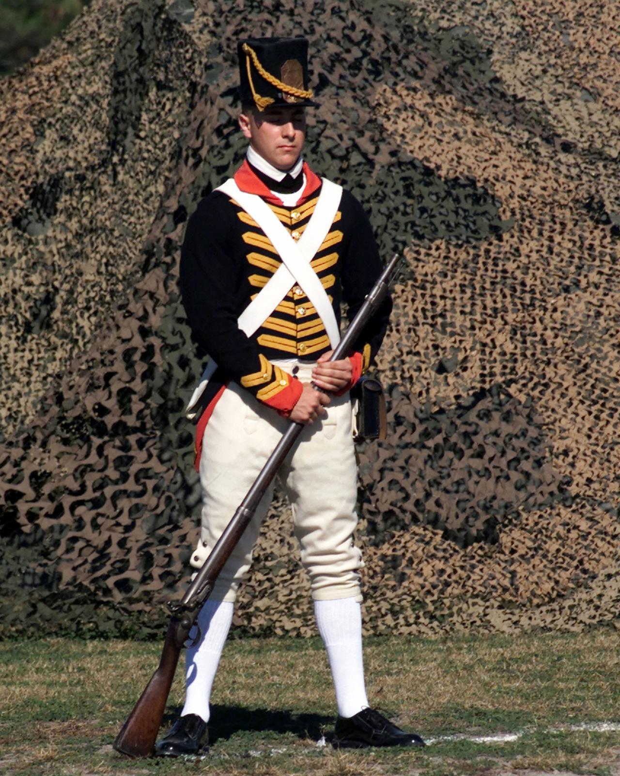 A US Marine displays the US Marine Corps Revolutionary War