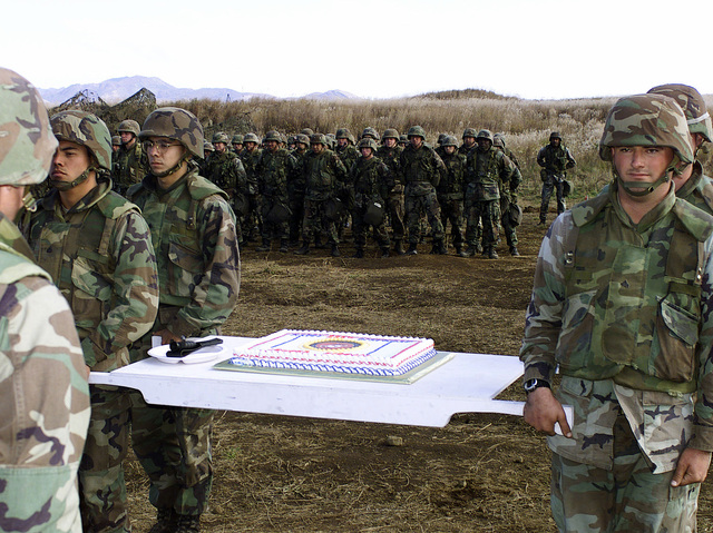 US Marines from 3rd Battalion, 12th Marine Regiment, 3D Marine Division, march out the birthday cake, during the Marine Corps 225th Birthday Cake Cutting Ceremony at Gun Position 99, East Camp Fuji, Japan. This training area is part of the unit's nine firing day relocation shoot, designed to enhance military occupational specialty proficiency within the artillery field