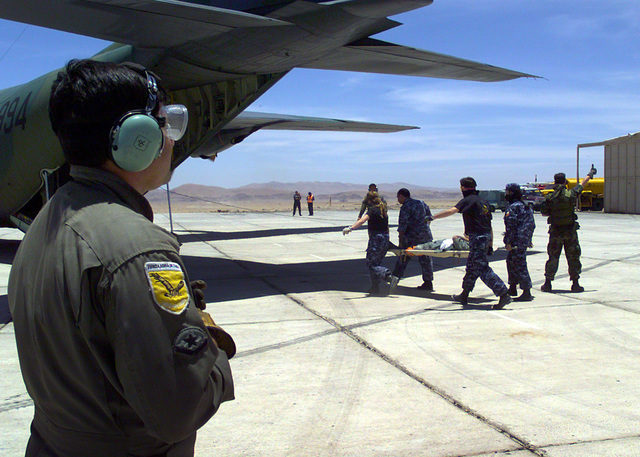 Members of the air evac unit from the Fuerza Aerea de Chile, and the 146th Aeromedical Evacuation Squadron, 146th Airlift Wing, California Air National Guard (CANG), load patients aboard a Chilean C-130 Hercules during a mass casualty exercise testing the interoperability of U.S. and Chilean forces. The exercise took place in the Atacama Desert