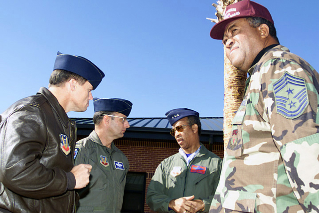 "US Air Force (USAF) Colonel (COL) ""Jet"" Jernigan, Vice-Commander, 169th Fighter Wing; COL Richard Noble, Commander, 169th Fighter Wing; and Command CHIEF MASTER Sergeant (CCMST) Jerry Foster (right), South Carolina Air National Guard; visit with Lieutenant General (LGEN) Russell Davis, CHIEF, National Guard Bureau, South Carolina Air National, at McEntire, Air National Guard Base (ANGB), South Carolina (SC)"
