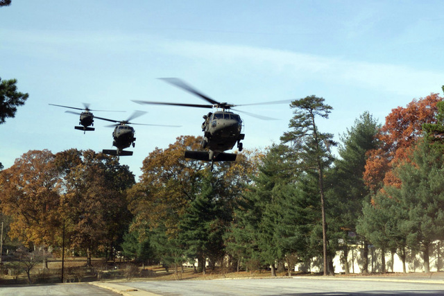 Georgia National Guard UH-60 Black Hawk helicopters transport business men and women from around the state of Georgia to the Employers Supporting the Guard and Reserve (ESGR) Conference hosted by General John W. Hendrix, Commanding General, US Forces Command (FORSCOM), at the Commons Community Club at Fort McPherson, GA. The meeting addressed the concerns of both the business community and the components community