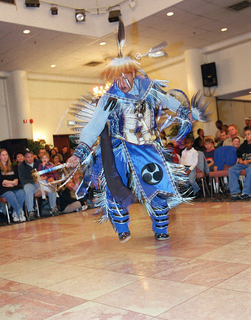 In celebration of Native American History Month, Kelly Rainer, a Morning Star Dancer, performs the Pueblo Buffalo dance in front of more than 475 people during the dancers visit to Incirlik Air Base, Turkey