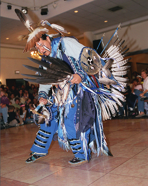 In celebration of Native American History Month, Kelly Rainer, a Morning Star Dancer, performs the Pueblo Buffalo dance in front of more than 475 people during the performers visit to Incirlik Air Base, Turkey