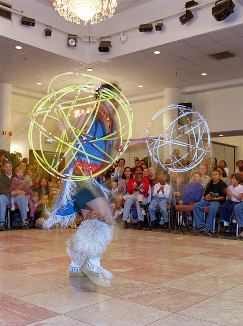 In celebration of Native American History Month, Shanner Escalanti, a Morning Star Dancer, performs the tradional hoop dance during the performers visit to Incirlik Air Base, Turkey