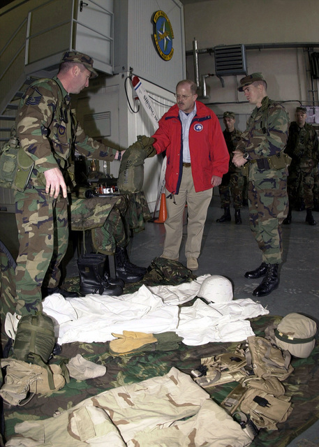 The Honorable F. Whitten Peters, Secretary of the Air Force (SECAF), is shown some of the Contingency Response Group (CRG) equipment used in the field, during his tour of the 86th Airlift Wing, Ramstein Air Base, Germany
