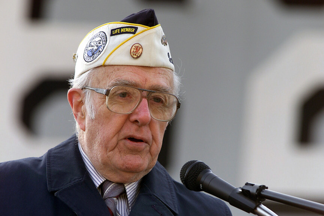 Pearl Harbor Survivor, Al Matthews, speaks beside the USS New Jersey during Rob Andrews' 10th Annual Pearl Harbor Commemoration at the Broadway Terminal in Camden, New Jersey. Mr. Matthews was a member of the 52nd Field Artillery, 24th Division at Schofield Barracks during the Pearl Harbor attack