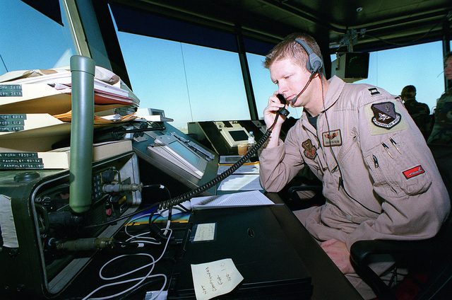 "US Air Force Caption Braxton ""NASA"" Rehm from the 522nd Fighter Squadron, Cannon Air Force Base, New Mexico, coordinates between Operation NORTHERN WATCH aircraft, squadron operation centers, and air traffic control center at Incirlik Air Base, Turkey"
