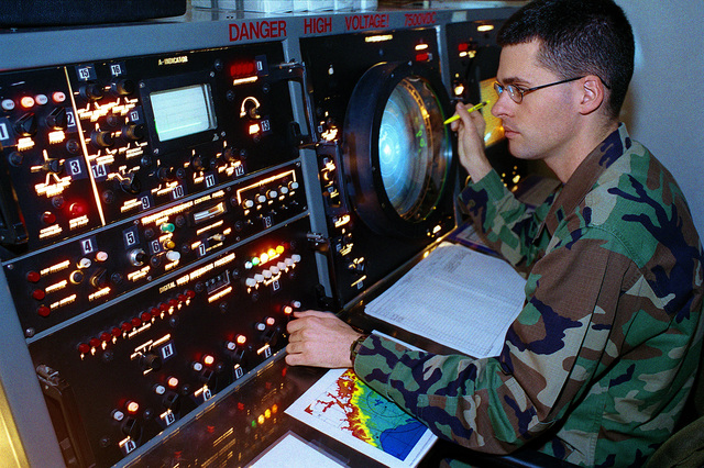 US Air Force Lieutenant Lee Price takes a radar observation on the AN-FPQ21. LT Price is looking for Percipitation at Incirlik Air Base, Turkey