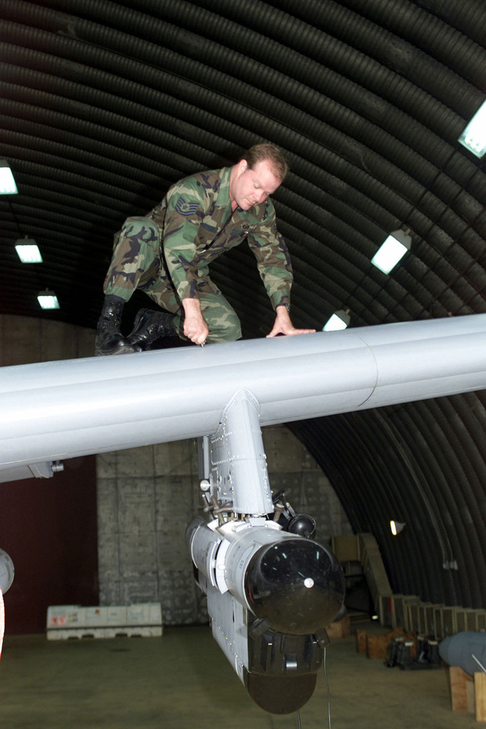 US Air Force Technical Sergeant Todd Chapman from the 303rd Expeditionary Fighter Squadron, Whiteman Air Force Base, Missouri, does a routine check of an A-10 aircraft. This is the first time the A-10 has been a part of Operation NORTHERN WATCH. (Duplicate image, see also DF-SD-01-08086 or search 001212-F-0751D-004)