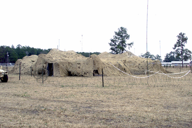 A view of the camouflaged Tactical Operation Center at Fort Stewart, Georgia during a Post exercise