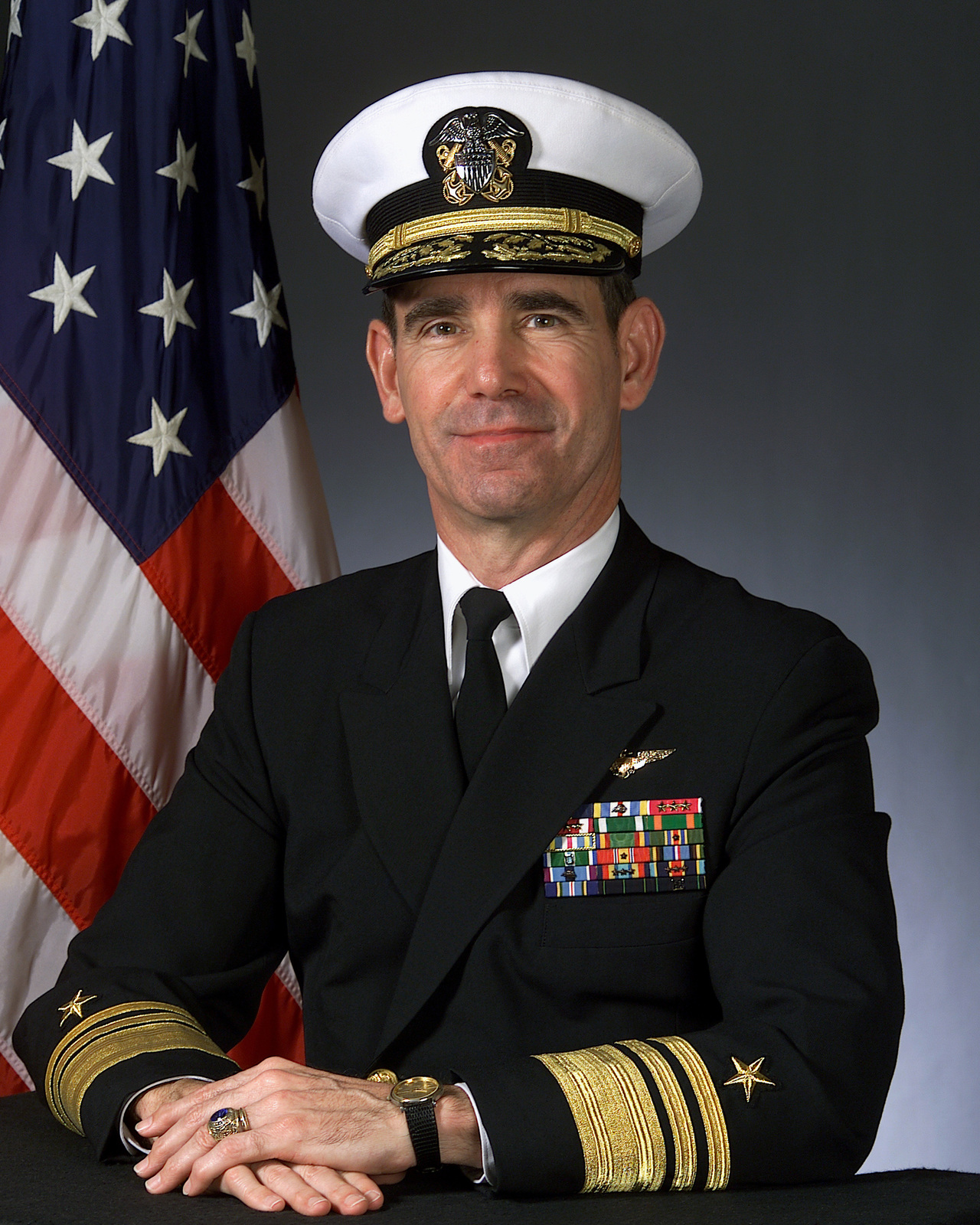 Portrait of US Navy Vice Admiral Michael D. Haskins. (covered)