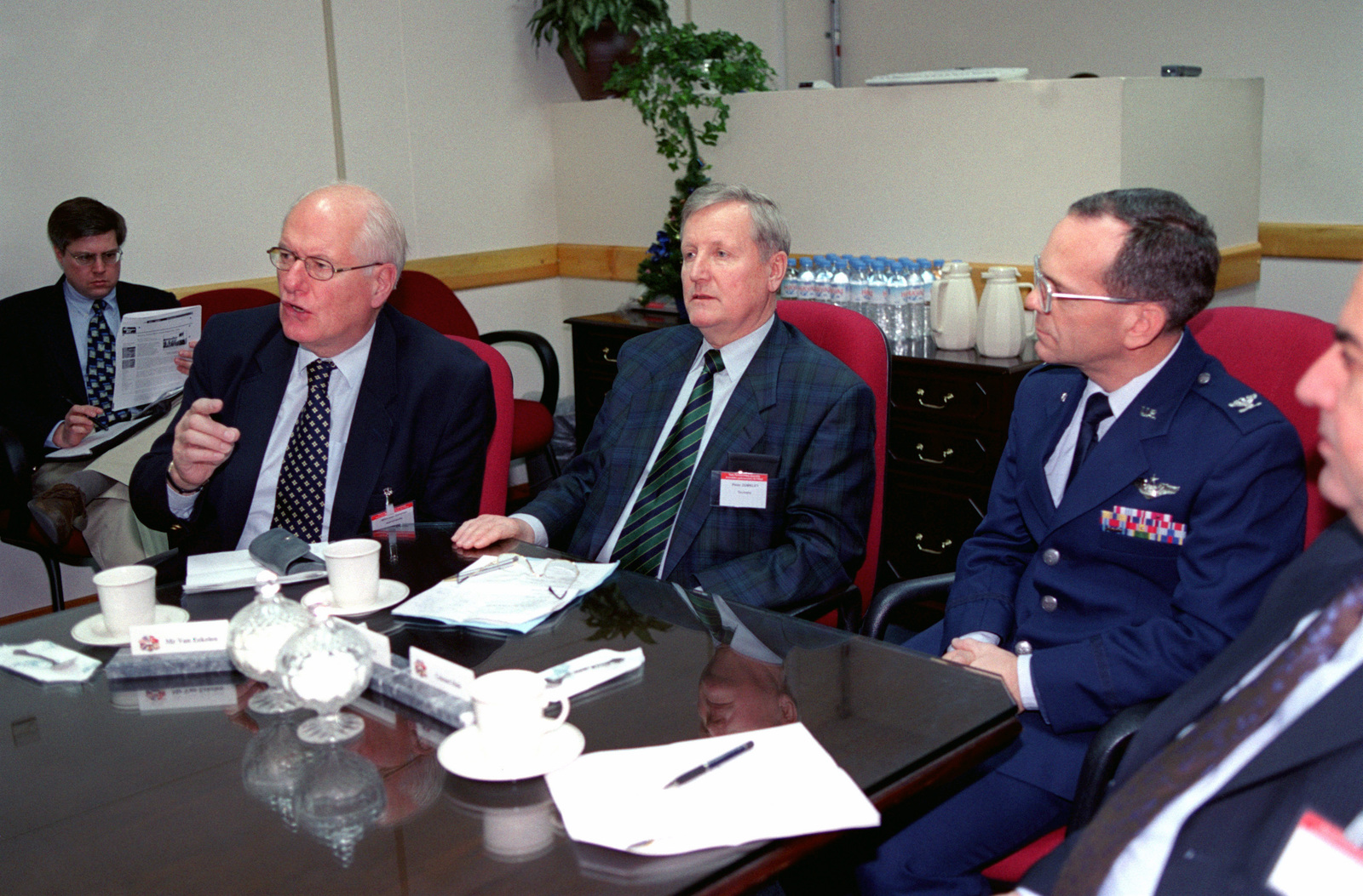 Willem Van Eekelen, a Member of a Parliament Subcommittee from the Netherlands, Peter Zumkley, and the North Atlantic Treaty Organization (NATO) Parliamentary Assembly Subcommittee on Transatlantic Defense and Security Cooperation discuss the Incirlik Air Base mission