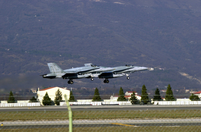 Canadian CF-18 Hornet aircraft depart Aviano Air Base, Italy, after contributing 2,600 combat flying hours in support of NATO Operation ALLIED FORCE, and engaging in reconnaissance and surveillance in support of Operation ECHO. ALLIED FORCE objective was to degrade and damage the military and security structure of President Milosevic. Operation ECHO were patrols over either Bosnia-Herzegovina or Kosovo. The detachment will return to the 4th Wing, at Cold Lake, Alberta, Canada. The Canadiens arrived at Aviano in June of 1998