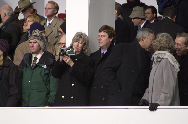 Photograph, from coverage of 2001 Presidential Inaugural, selected for use in preparation of Department of Interior video on tenure of departing Secretary Gale Norton