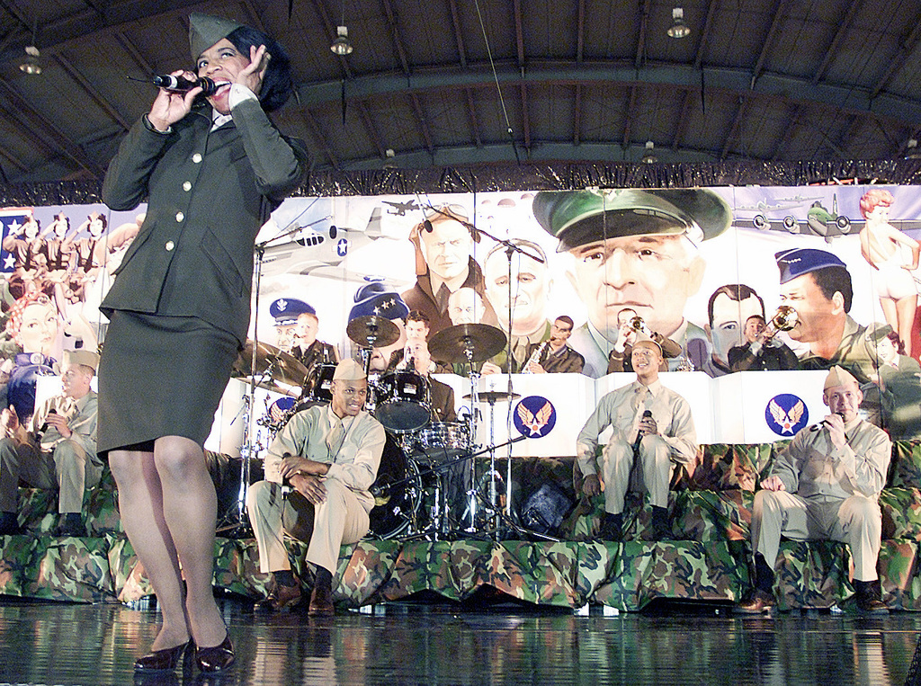 US Air Force Tops in Blue perform at the National Football League Players Huddle Party at MacDill Air Force Base