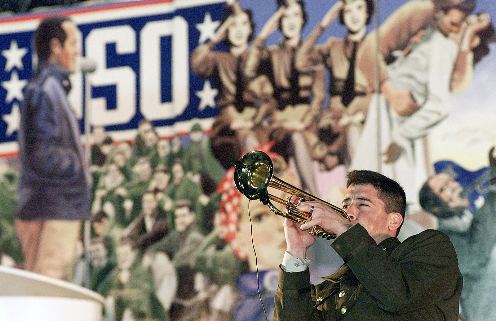 US Air Force Tops in Blue Trumpeter performs a solo during the National Football League Players Huddle Party at MacDill Air Force Base