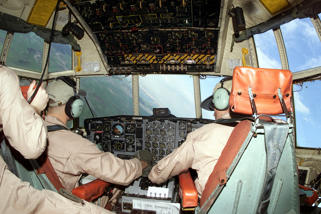 US Air Force Captain Brian Murphy, pilot, and US Air Force Major Anthony Barnes, instructor pilot, assigned here from Marine Corps Air Station Miramar, San Diego, California, prepare for a final approach into Incirlik Air Base. The group deployed here in support of Operation NORTHERN WATCH