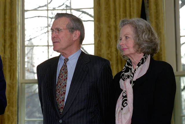 The Honorable Donald H. Rumsfeld (left), U.S. Secretary of Defense (SECDEF), and his wife, Joyce Rumsfeld, at the Oath of Office Ceremony held in the Oval Office of the White House, Washington, D.C., Jan. 26, 2001.  OSD Package No. 010126-D-9880W-0013 to 0030 (PHOTO by Robert D. Ward) (Released)