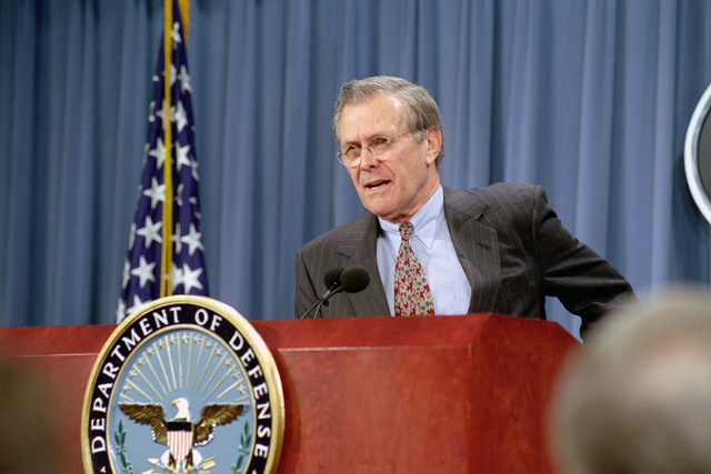 The Honorable Donald H. Rumsfeld, U.S. Secretary of Defense (SECDEF), holds his first press conference in the Pentagon, Room 2E781, Washington, D.C., Jan. 26, 2001, immediately following his Oath of Office Ceremony at the White House.  OSD Package No. 010126-D-9880W-0013 to 0030 (PHOTO by Robert D. Ward) (Released)