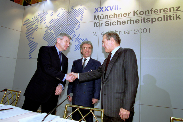 Dr. Horst Teltschik (left), conference organizer, Joschka Fischer, Minister of Foreign Affairs, Germany, and the Honorable Donald H. Rumsfeld (right), U.S. Secretary of Defense (SECDEF), at the 37th Munich Conference on Security Policy in Munich, Germany, Feb. 3, 2001.  OSD Package 010203-D-2987S-001-030 (PHOTO by Helene C. Stikkel) (Released)