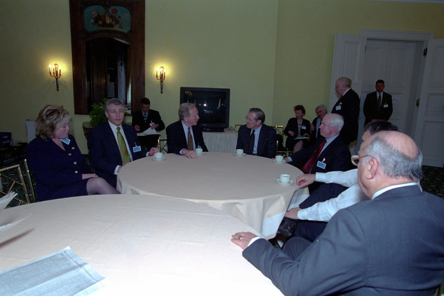 The Honorable Donald H. Rumsfeld (center, right), U.S. Secretary of Defense (SECDEF), speaks with Senator Joseph U. Lieberman (center, left), (D) Connecticut, and other members of a U.S. Congressional delegation at the 37th Munich Conference on Security Policy in Munich, Germany, Feb. 3, 2001.  OSD Package 010203-D-2987S-001-030 (PHOTO by Helene C. Stikkel) (Released)